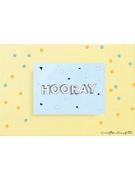 """Wenskaart """"Hooray"""" / 5 stuks"""