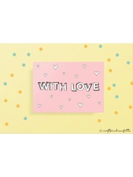 "Wenskaart ""With Love"" / 5 stuks"